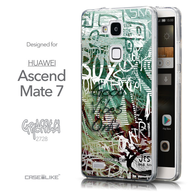 Front & Side View - CASEiLIKE Huawei Ascend Mate 7 back cover Graffiti 2728