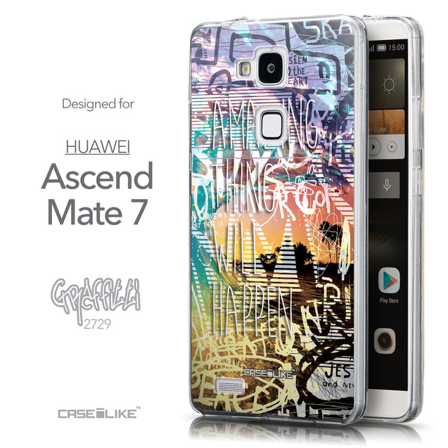 Front & Side View - CASEiLIKE Huawei Ascend Mate 7 back cover Graffiti 2729