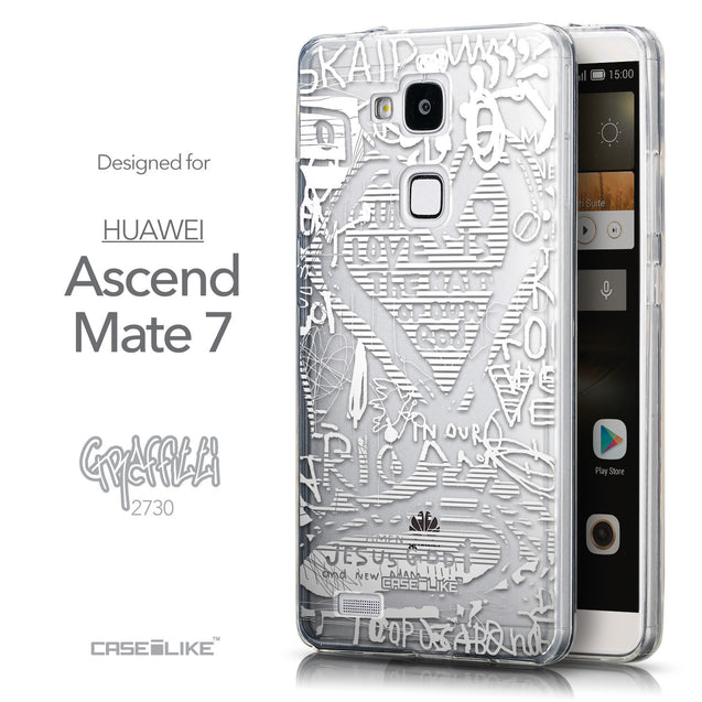 Front & Side View - CASEiLIKE Huawei Ascend Mate 7 back cover Graffiti 2730