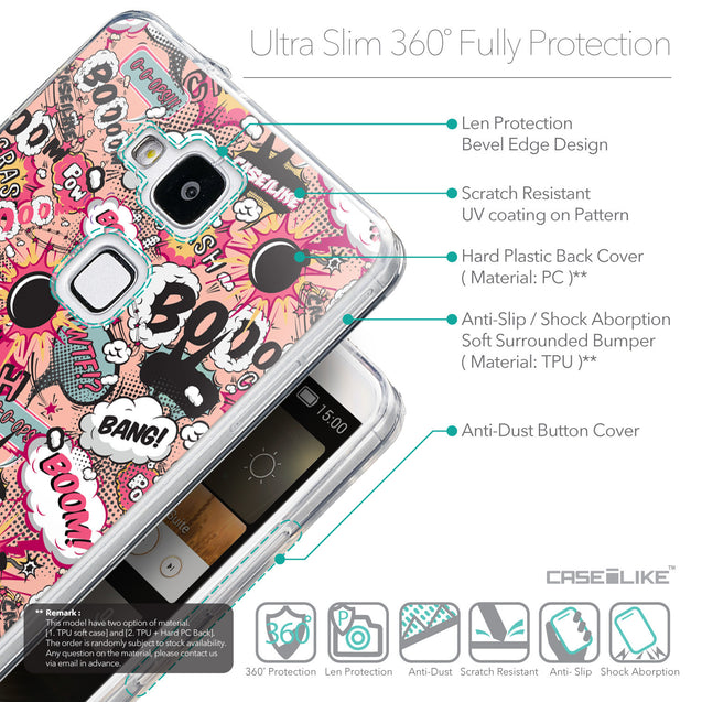 Details in English - CASEiLIKE Huawei Ascend Mate 7 back cover Comic Captions Pink 2912