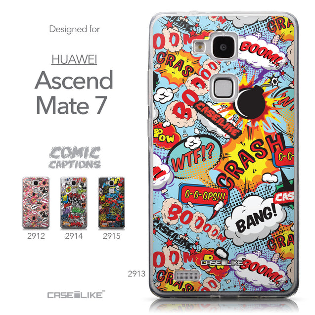 Collection - CASEiLIKE Huawei Ascend Mate 7 back cover Comic Captions Blue 2913