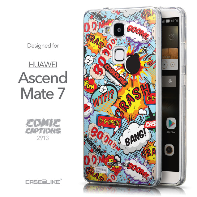 Front & Side View - CASEiLIKE Huawei Ascend Mate 7 back cover Comic Captions Blue 2913