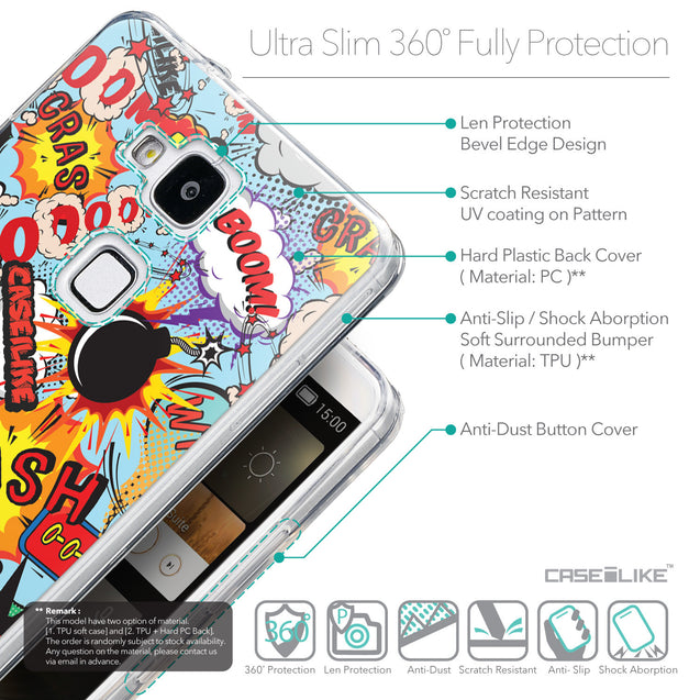Details in English - CASEiLIKE Huawei Ascend Mate 7 back cover Comic Captions Blue 2913