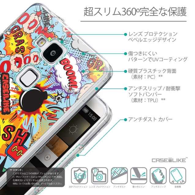 Details in Japanese - CASEiLIKE Huawei Ascend Mate 7 back cover Comic Captions Blue 2913