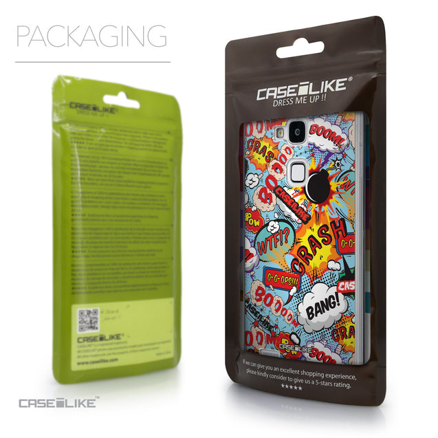 Packaging - CASEiLIKE Huawei Ascend Mate 7 back cover Comic Captions Blue 2913
