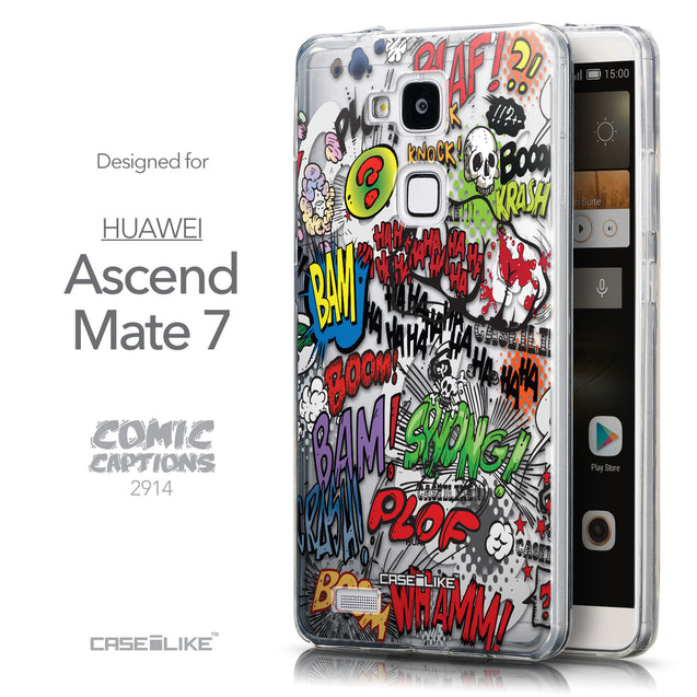 Front & Side View - CASEiLIKE Huawei Ascend Mate 7 back cover Comic Captions 2914