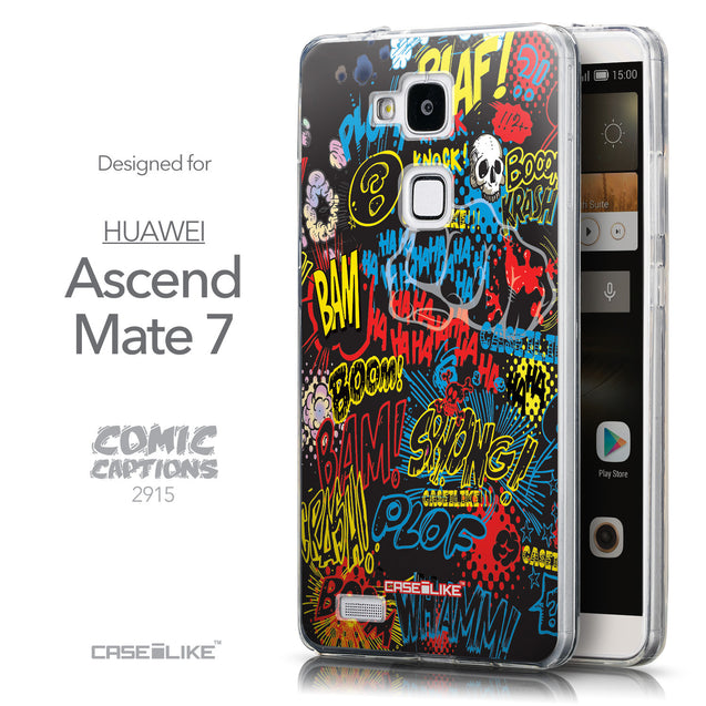 Front & Side View - CASEiLIKE Huawei Ascend Mate 7 back cover Comic Captions Black 2915