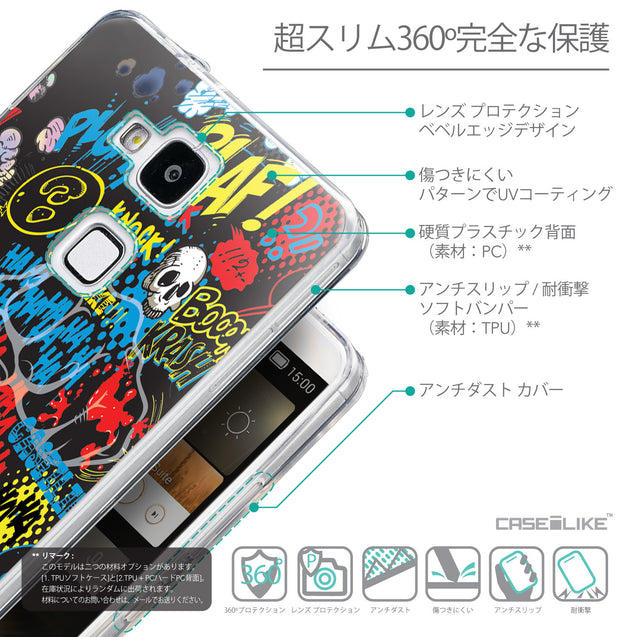Details in Japanese - CASEiLIKE Huawei Ascend Mate 7 back cover Comic Captions Black 2915