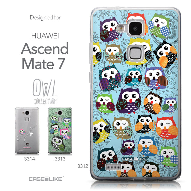 Collection - CASEiLIKE Huawei Ascend Mate 7 back cover Owl Graphic Design 3312