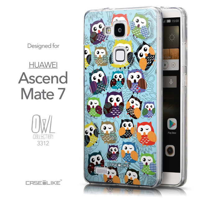 Front & Side View - CASEiLIKE Huawei Ascend Mate 7 back cover Owl Graphic Design 3312