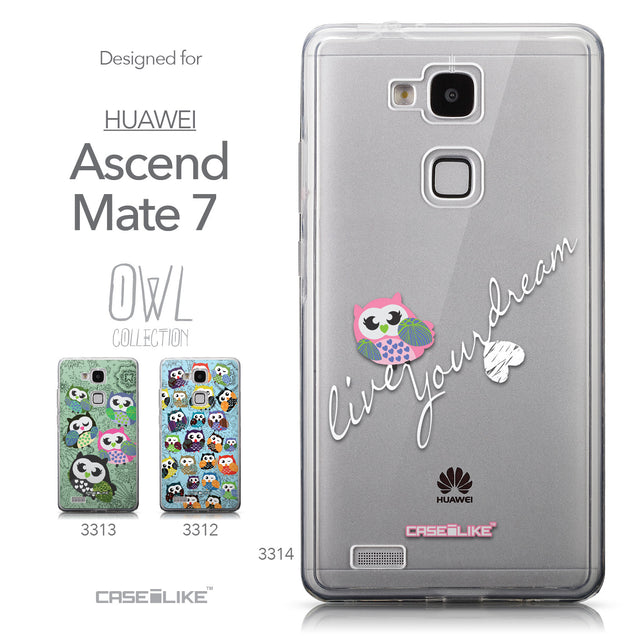 Collection - CASEiLIKE Huawei Ascend Mate 7 back cover Owl Graphic Design 3314