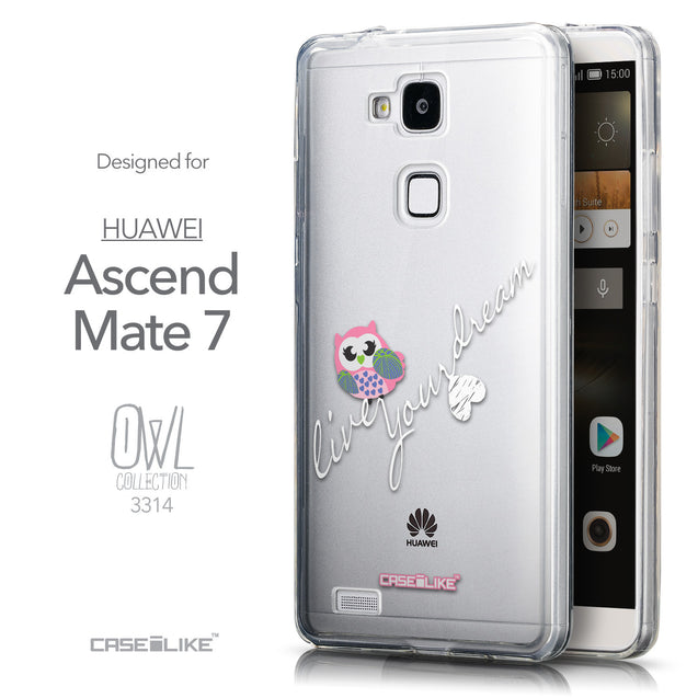 Front & Side View - CASEiLIKE Huawei Ascend Mate 7 back cover Owl Graphic Design 3314
