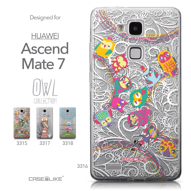 Collection - CASEiLIKE Huawei Ascend Mate 7 back cover Owl Graphic Design 3316