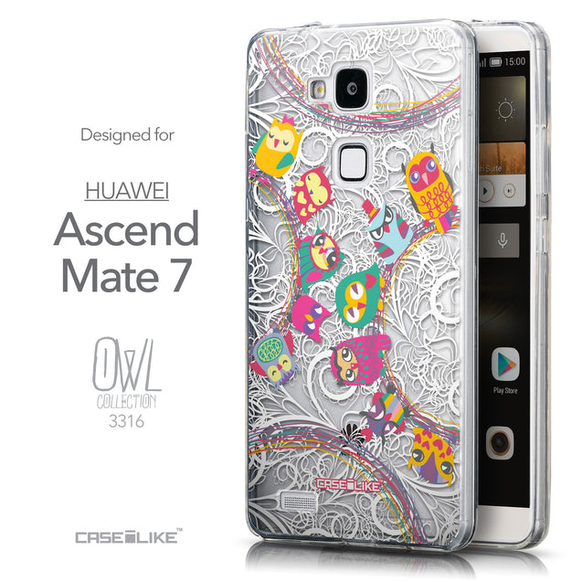 Front & Side View - CASEiLIKE Huawei Ascend Mate 7 back cover Owl Graphic Design 3316