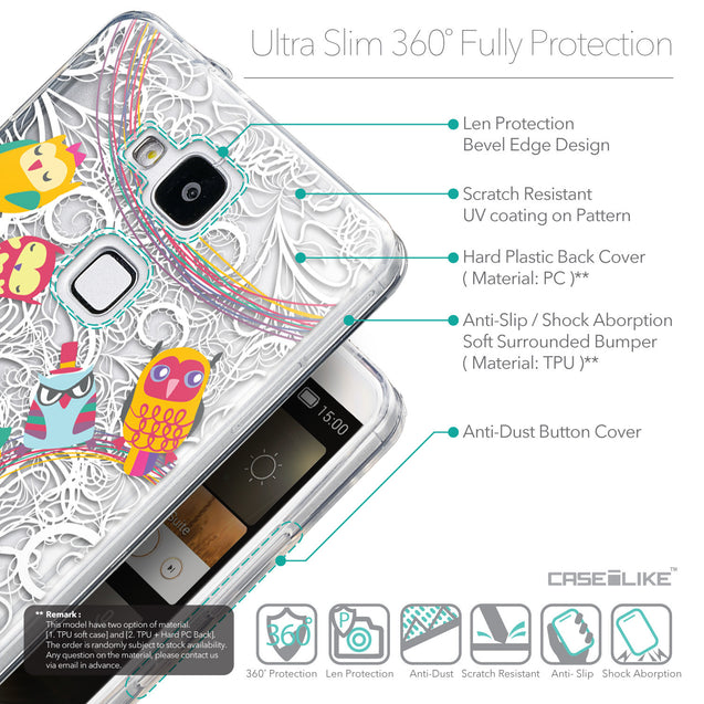 Details in English - CASEiLIKE Huawei Ascend Mate 7 back cover Owl Graphic Design 3316