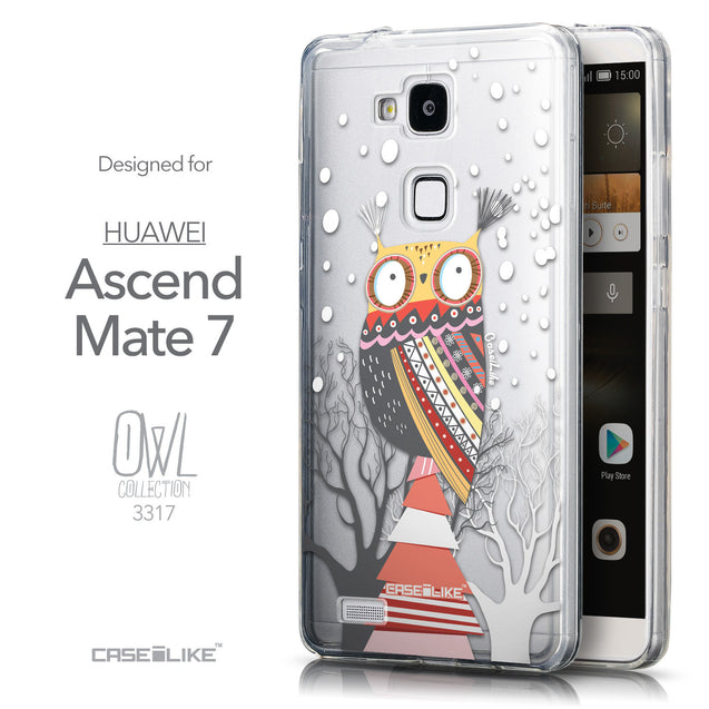 Front & Side View - CASEiLIKE Huawei Ascend Mate 7 back cover Owl Graphic Design 3317