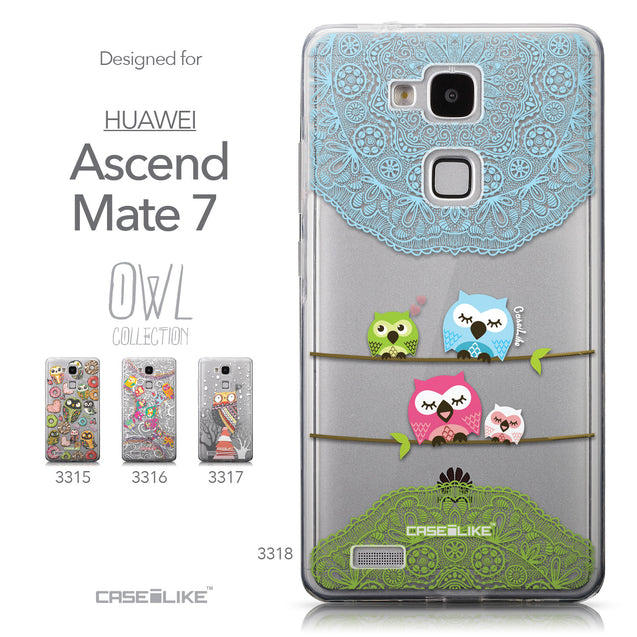Collection - CASEiLIKE Huawei Ascend Mate 7 back cover Owl Graphic Design 3318