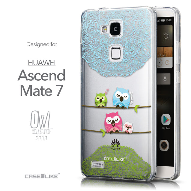 Front & Side View - CASEiLIKE Huawei Ascend Mate 7 back cover Owl Graphic Design 3318