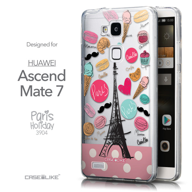 Front & Side View - CASEiLIKE Huawei Ascend Mate 7 back cover Paris Holiday 3904