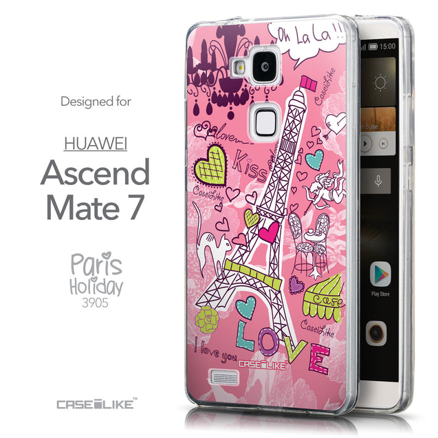 Front & Side View - CASEiLIKE Huawei Ascend Mate 7 back cover Paris Holiday 3905