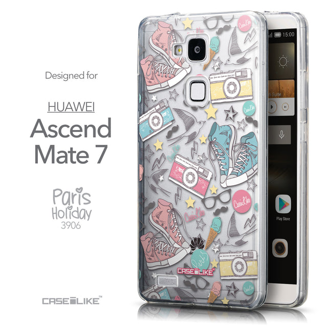 Front & Side View - CASEiLIKE Huawei Ascend Mate 7 back cover Paris Holiday 3906
