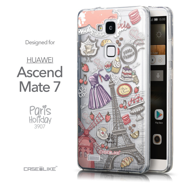 Front & Side View - CASEiLIKE Huawei Ascend Mate 7 back cover Paris Holiday 3907