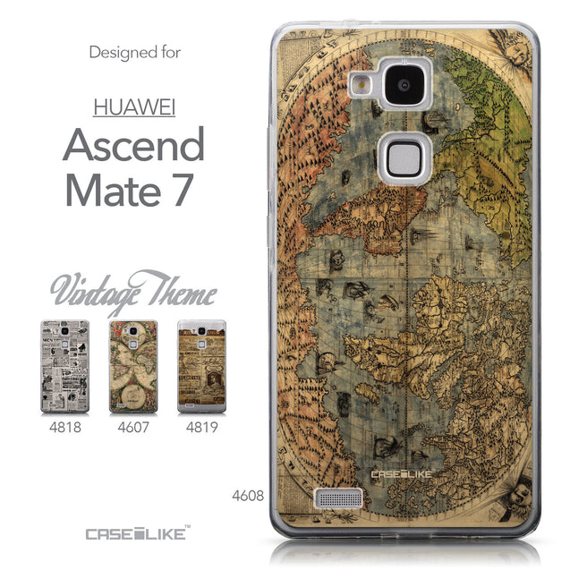 Collection - CASEiLIKE Huawei Ascend Mate 7 back cover World Map Vintage 4608