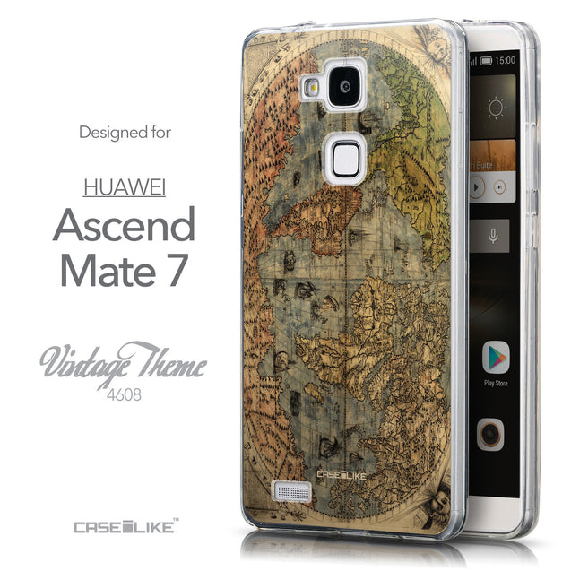 Front & Side View - CASEiLIKE Huawei Ascend Mate 7 back cover World Map Vintage 4608