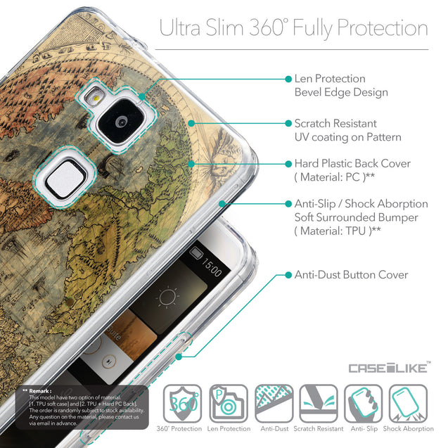 Details in English - CASEiLIKE Huawei Ascend Mate 7 back cover World Map Vintage 4608