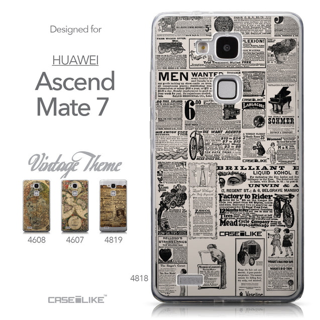 Collection - CASEiLIKE Huawei Ascend Mate 7 back cover Vintage Newspaper Advertising 4818