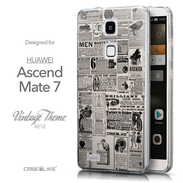 Front & Side View - CASEiLIKE Huawei Ascend Mate 7 back cover Vintage Newspaper Advertising 4818