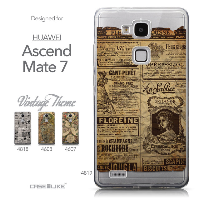 Collection - CASEiLIKE Huawei Ascend Mate 7 back cover Vintage Newspaper Advertising 4819