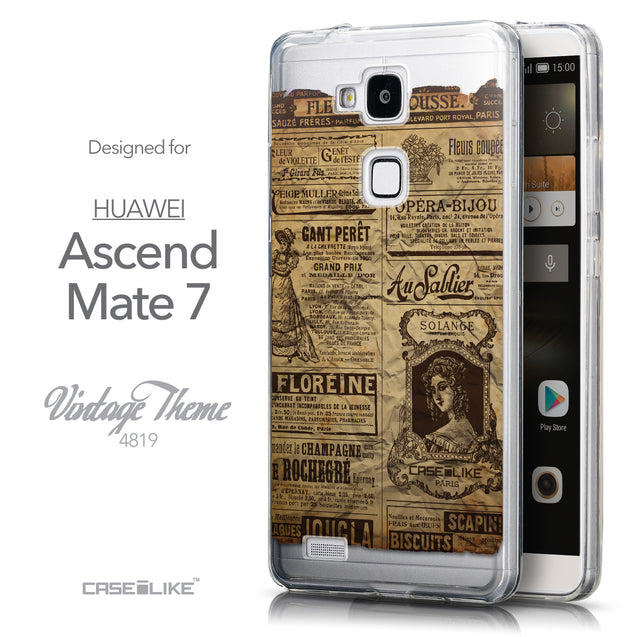 Front & Side View - CASEiLIKE Huawei Ascend Mate 7 back cover Vintage Newspaper Advertising 4819