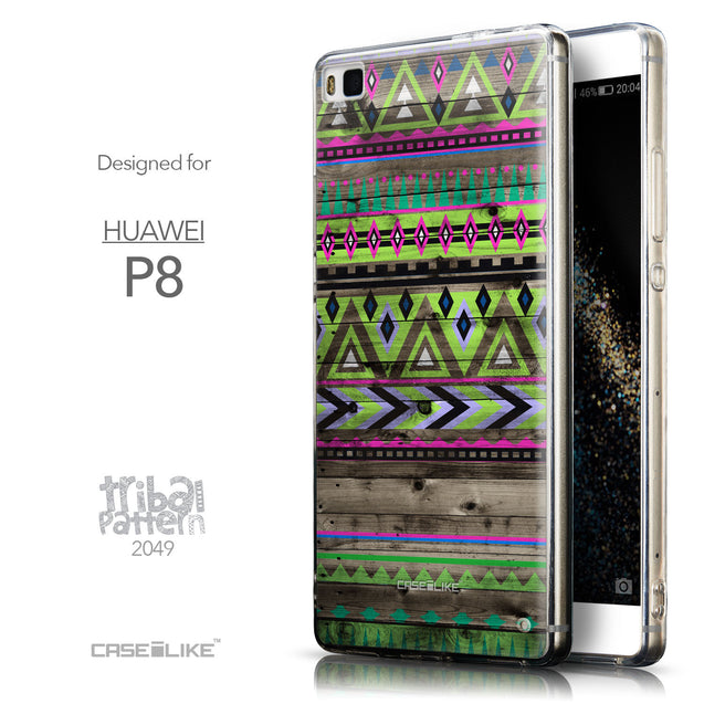 Front & Side View - CASEiLIKE Huawei P8 back cover Indian Tribal Theme Pattern 2049