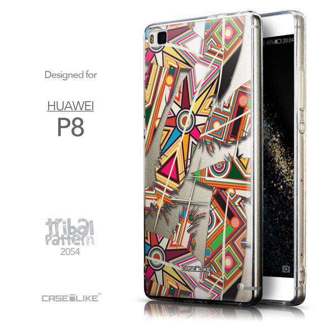 Front & Side View - CASEiLIKE Huawei P8 back cover Indian Tribal Theme Pattern 2054