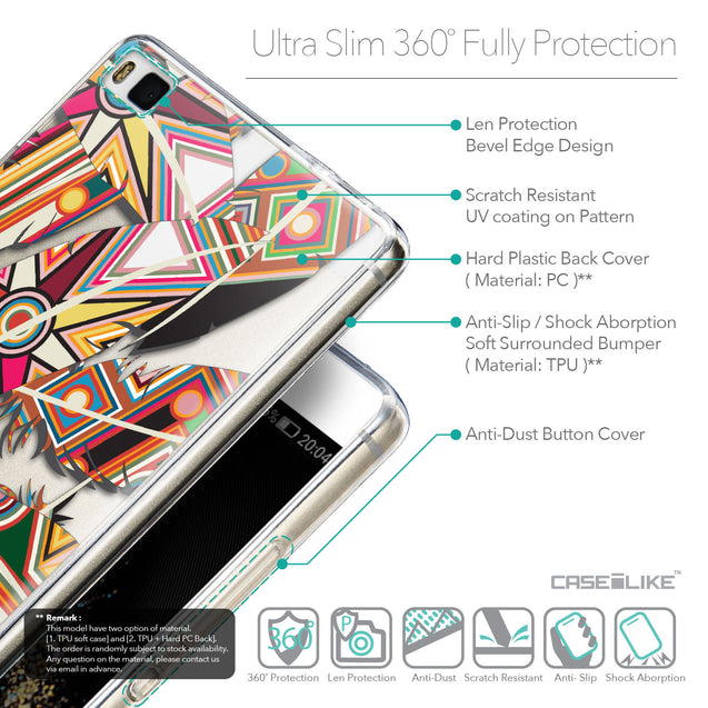 Details in English - CASEiLIKE Huawei P8 back cover Indian Tribal Theme Pattern 2054