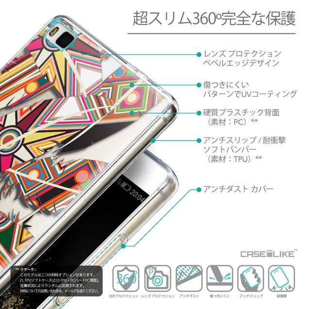 Details in Japanese - CASEiLIKE Huawei P8 back cover Indian Tribal Theme Pattern 2054