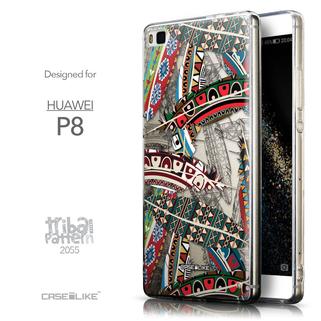 Front & Side View - CASEiLIKE Huawei P8 back cover Indian Tribal Theme Pattern 2055