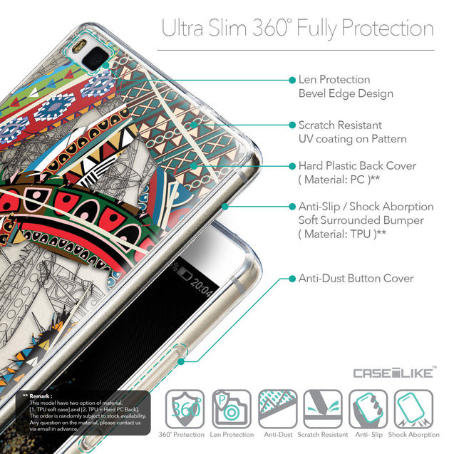 Details in English - CASEiLIKE Huawei P8 back cover Indian Tribal Theme Pattern 2055