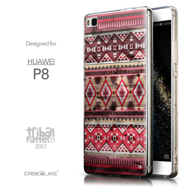 Front & Side View - CASEiLIKE Huawei P8 back cover Indian Tribal Theme Pattern 2057
