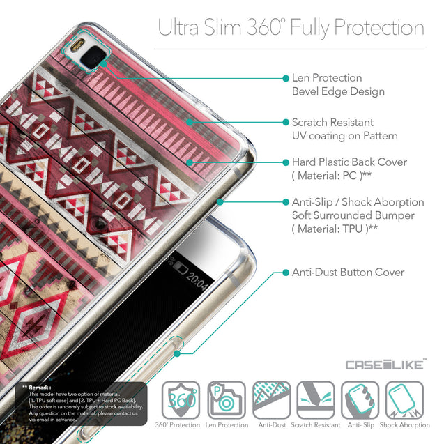 Details in English - CASEiLIKE Huawei P8 back cover Indian Tribal Theme Pattern 2057