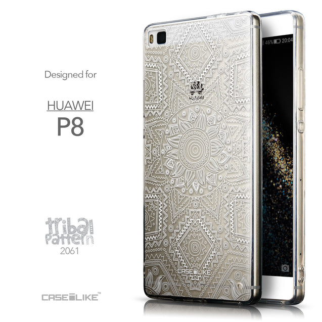 Front & Side View - CASEiLIKE Huawei P8 back cover Indian Line Art 2061