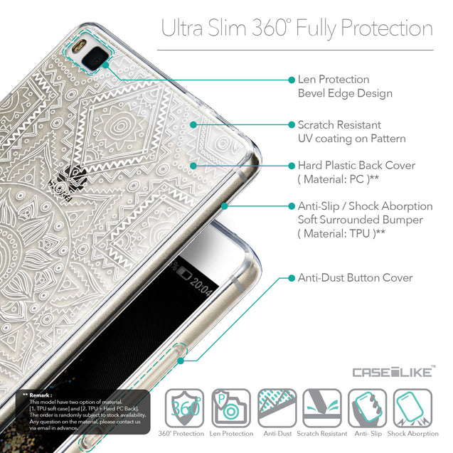 Details in English - CASEiLIKE Huawei P8 back cover Indian Line Art 2061