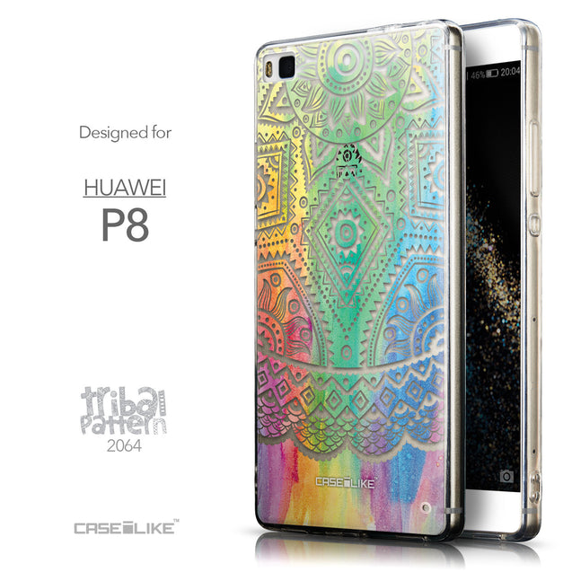 Front & Side View - CASEiLIKE Huawei P8 back cover Indian Line Art 2064