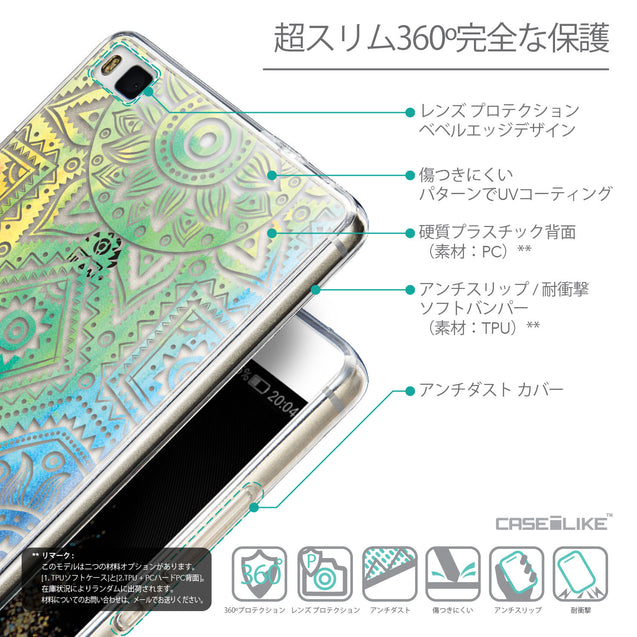 Details in Japanese - CASEiLIKE Huawei P8 back cover Indian Line Art 2064