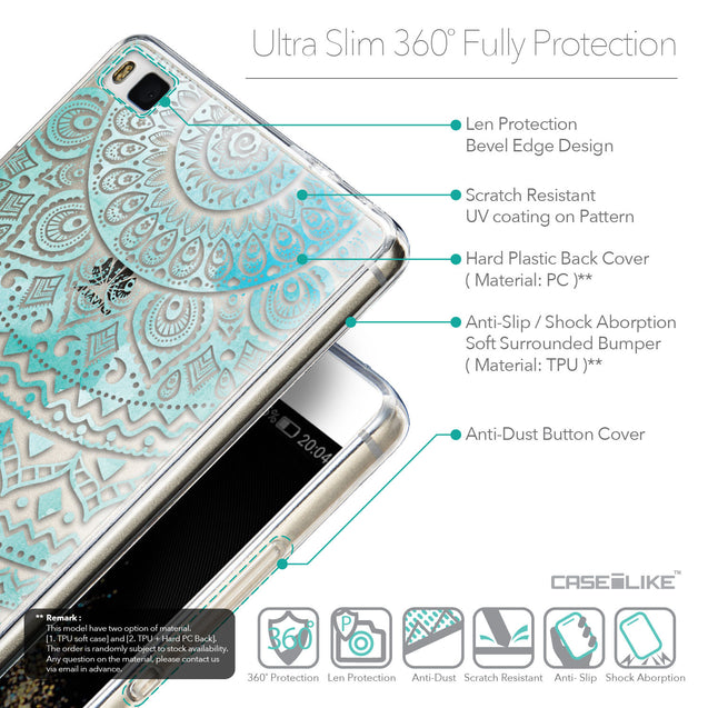 Details in English - CASEiLIKE Huawei P8 back cover Indian Line Art 2066