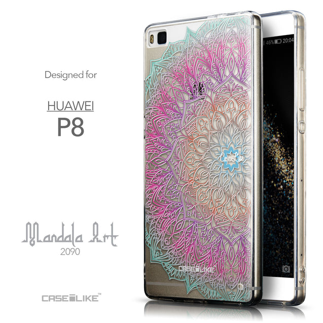 Front & Side View - CASEiLIKE Huawei P8 back cover Mandala Art 2090