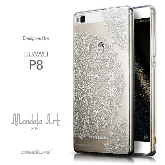 Front & Side View - CASEiLIKE Huawei P8 back cover Mandala Art 2091