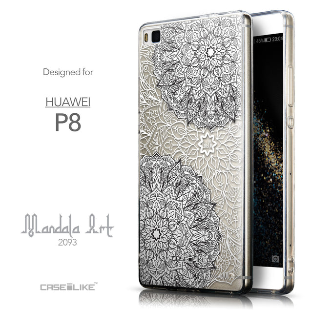 Front & Side View - CASEiLIKE Huawei P8 back cover Mandala Art 2093