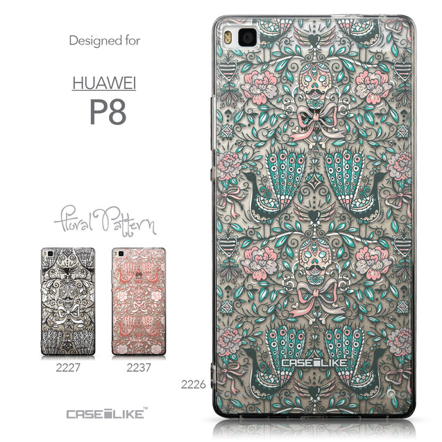Collection - CASEiLIKE Huawei P8 back cover Roses Ornamental Skulls Peacocks 2226
